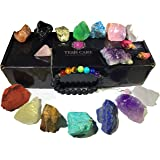 Tesh Care Chakra Therapy Starter Collection 17 pcs Healing Crystals kit, 7 Raw Chakra Stones,7 Colorful Gemstones…