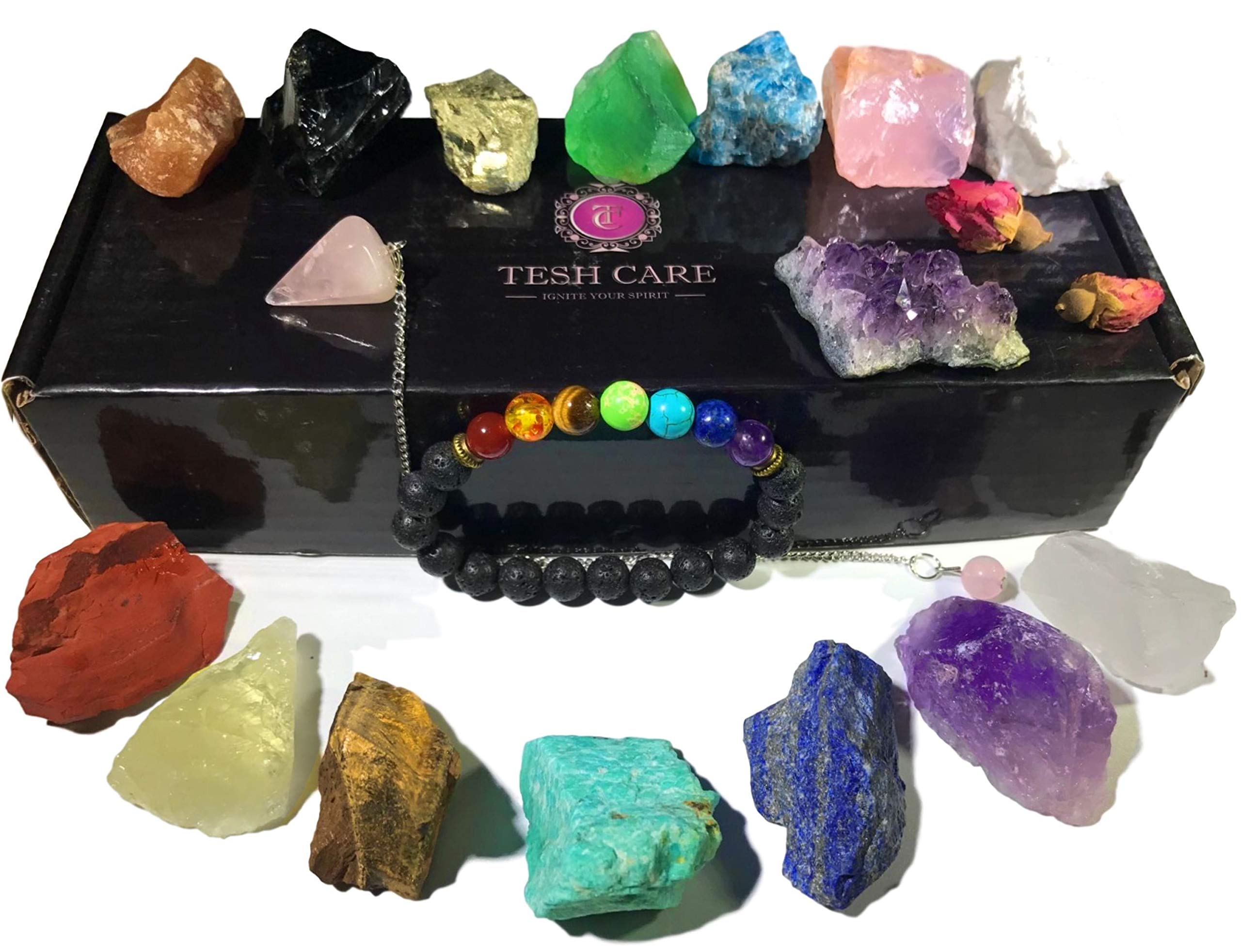 Tesh Care Chakra Therapy Starter Collection 17 pcs Healing Crystals kit, 7 Raw Chakra Stones,7 Colorful Gemstones, Amethyst,Rose Quartz Pendulum,Chakra Lava Bracelet,Dry Roses,Guide,COA,Gift Ready