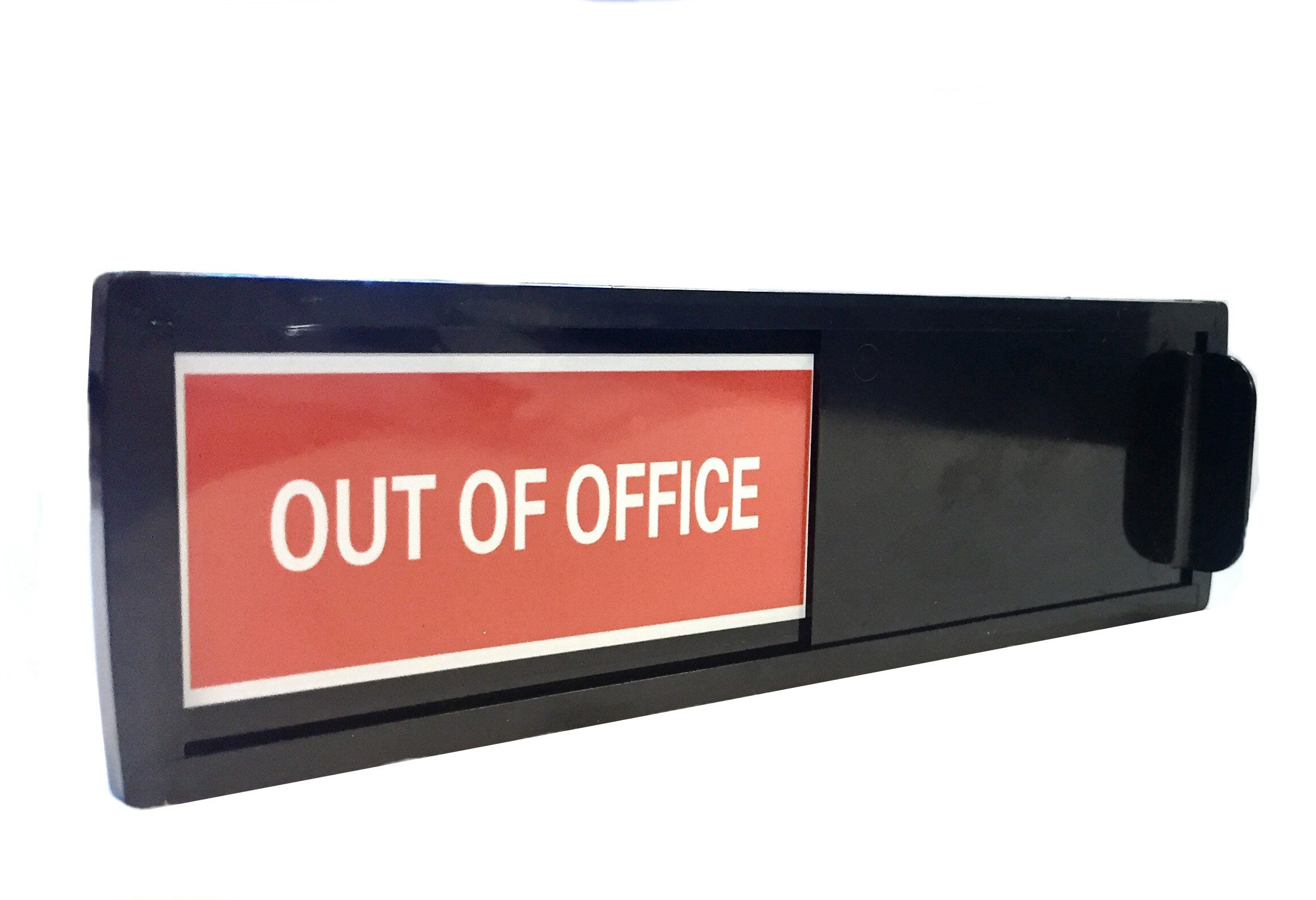 Out of Office Sign | for Businesses, Offices and Home use | Works Like a do not Disturb Sign | Shutter Changes When You Push IT | for Home and Offices (Welcome Signs) (Black)