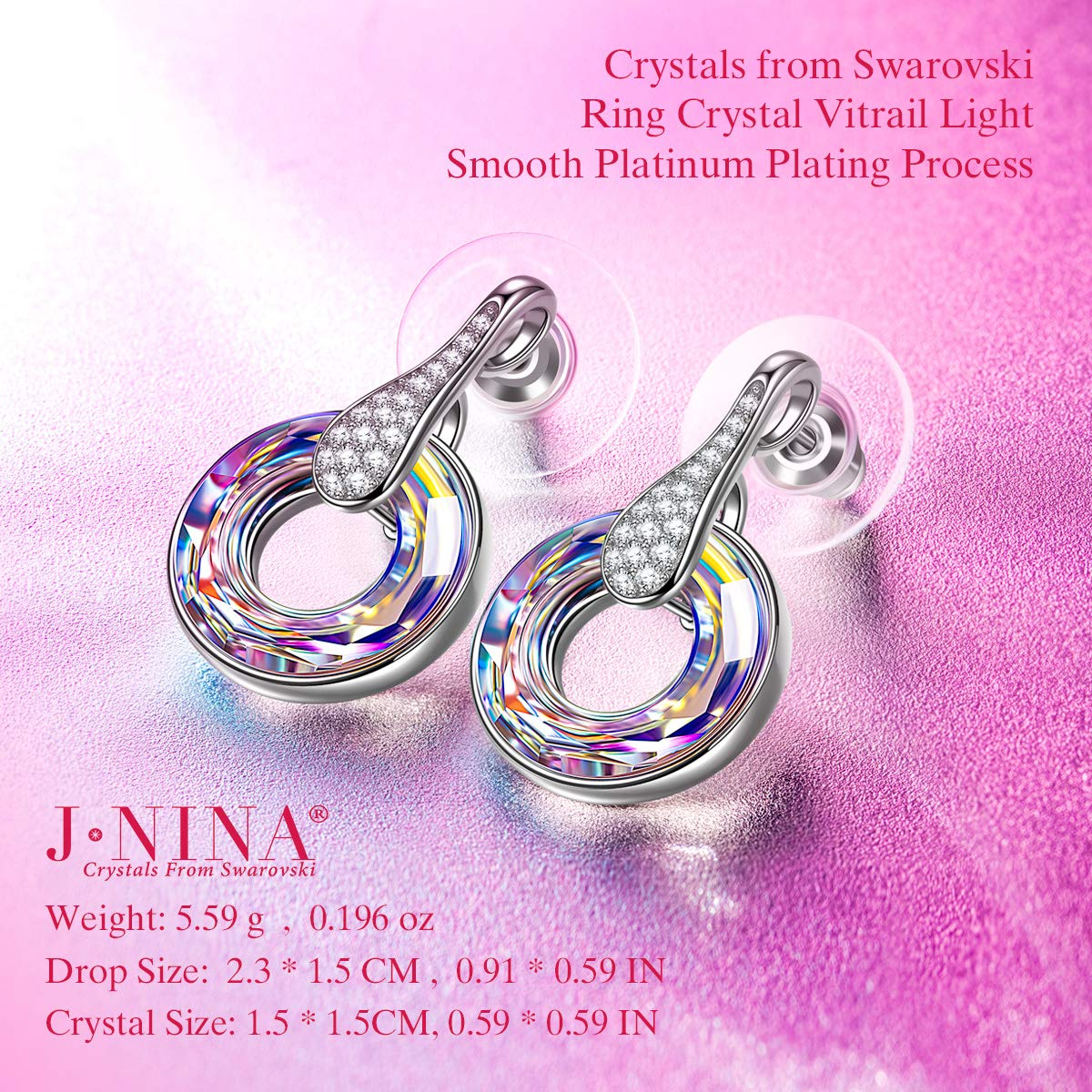 Amazon.com: J.NINA Christmas Jewelry Gifts Wish Earrings for Women Stud  Earring with Purple Crystals from Swarovski Earrings for Her Anniversary  Birthday ...