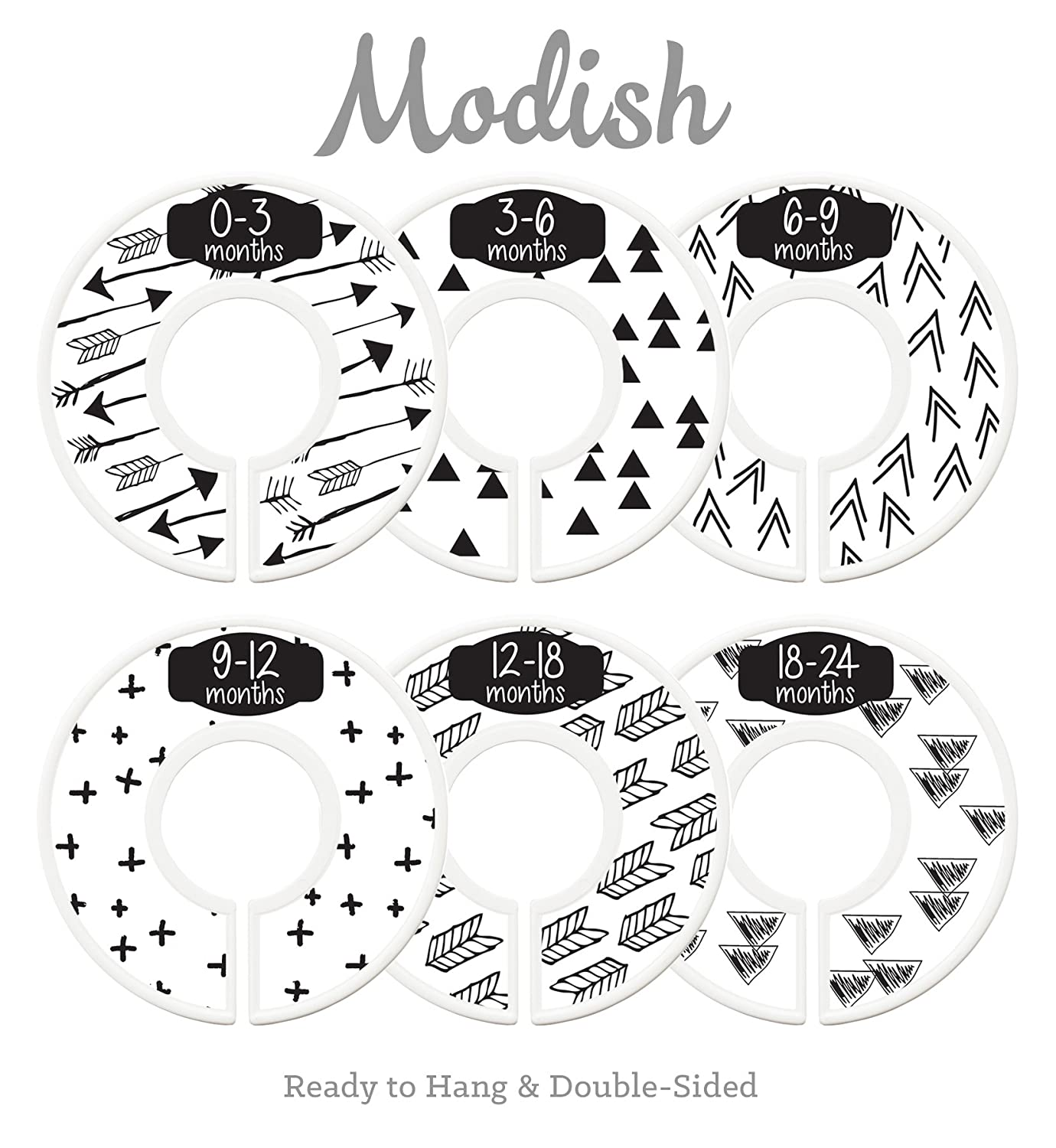 Modish Labels Baby Nursery Closet Dividers, Closet Organizers, Nursery Decor, Gender Neutral, Baby Boy, Baby Girl, Tribal, Arrows, Triangles, Boho Geometric, Nordic, Black, White (Black & White) Inc. 687847979708