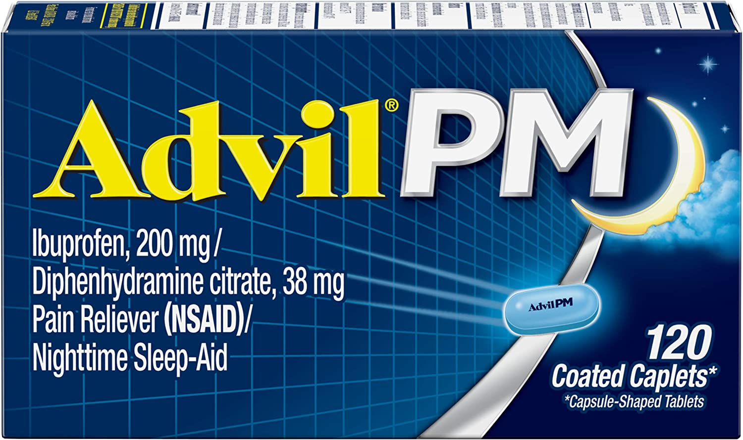 Advil PM (120 Count) Pain Reliever/Nighttime Sleep Aid Coated Caplet, 200mg Ibuprofen, 38mg Diphenhydramine: Health & Personal Care