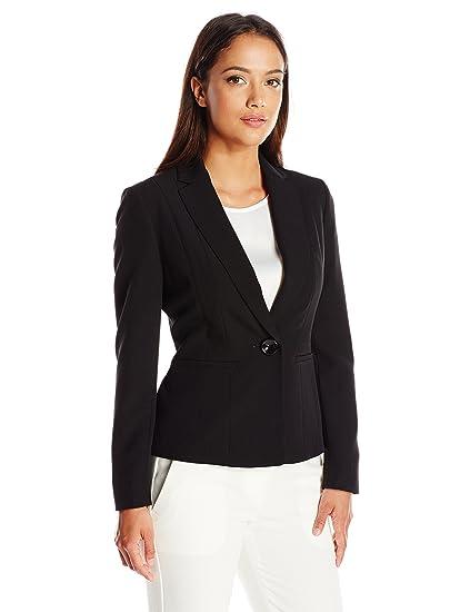 d8d7438b19a Kasper Women s Petite Size Stretch Crepe One Button Jacket at Amazon Women s  Clothing store