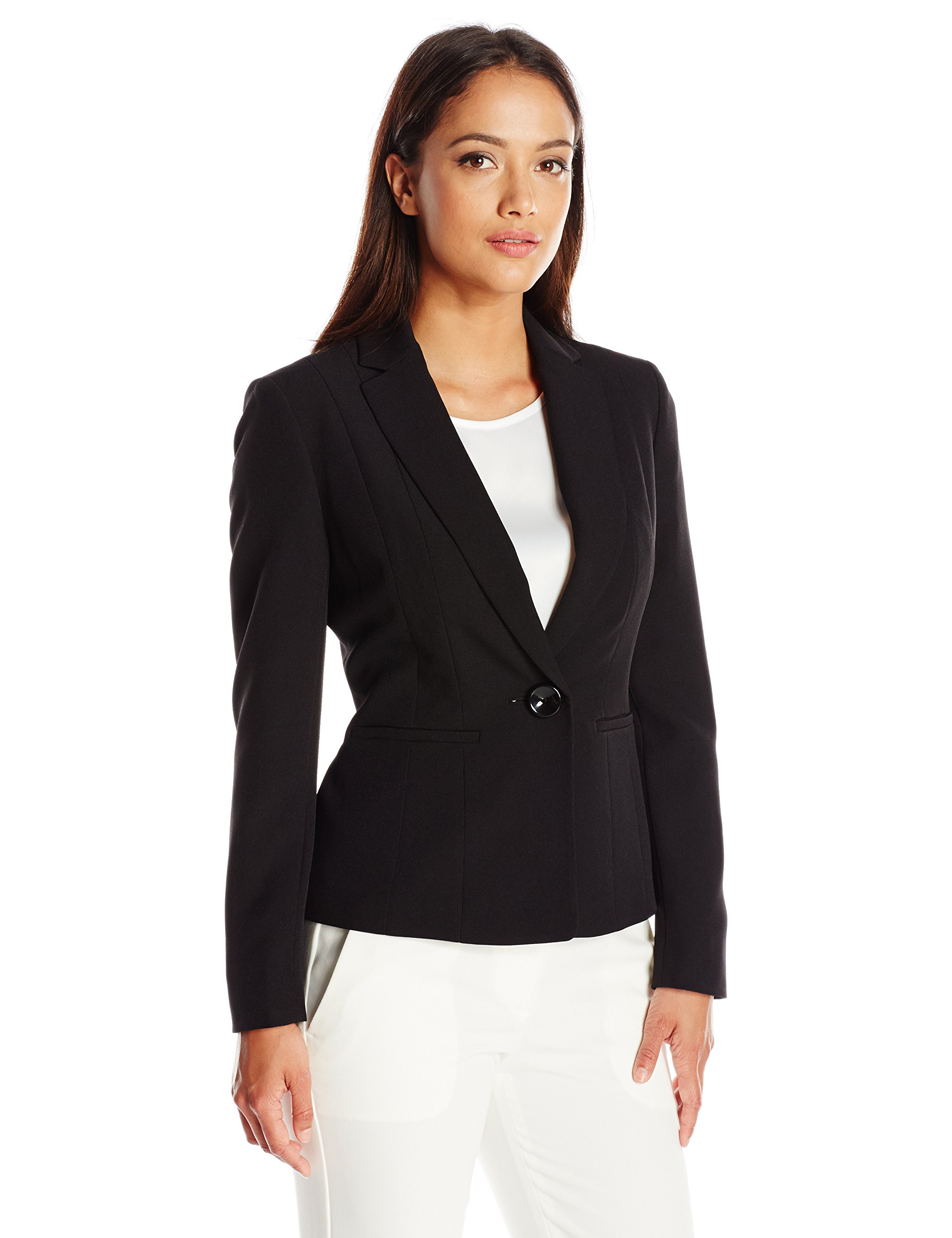 Kasper Women's Size Stretch Crepe One Button Jacket, Black, 14 Petite