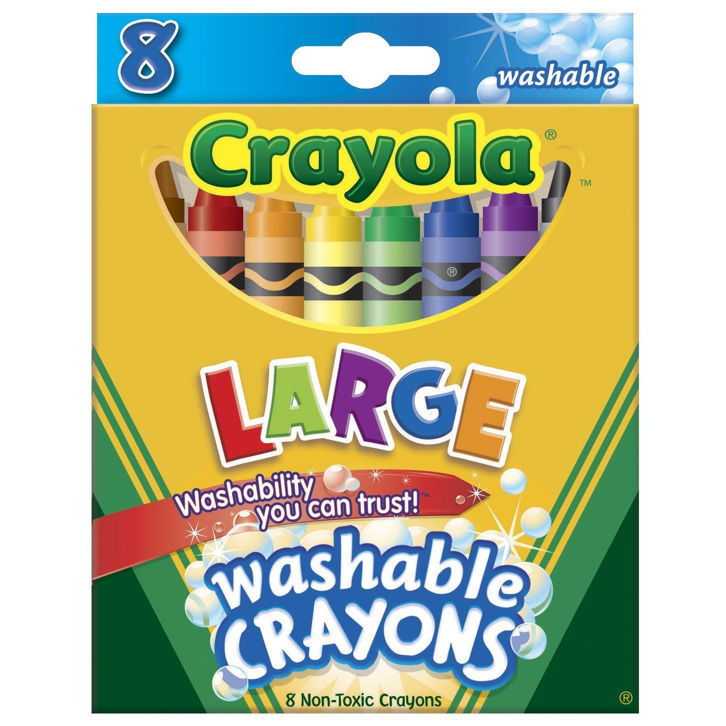 Crayola Crayons Kids First Large Washable 8 In A Box (Pack of 12) 96 Crayons Total by Crayola