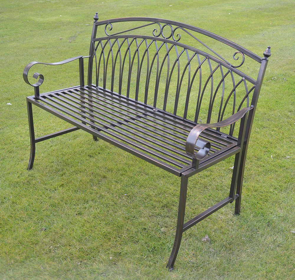 Olive Grove Versailles Folding Metal Garden Bench In Antique