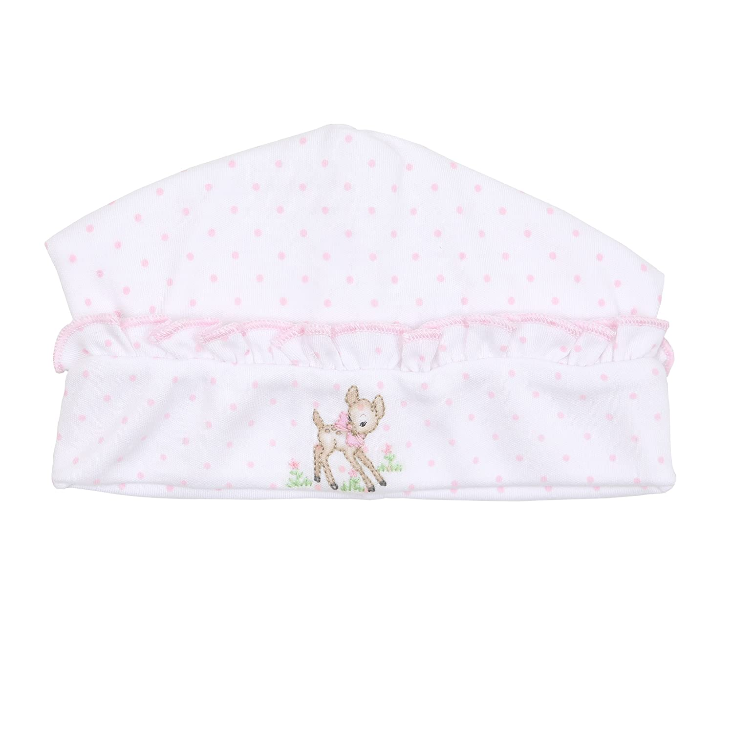 Magnolia Baby Baby Girl Vintage Fawn Embroidered Ruffle Hat Pink