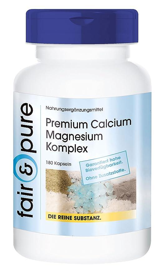 180 cápsulas vegetarianas con un complejo premium de calcio y magnesio - Sustancia pura y sin