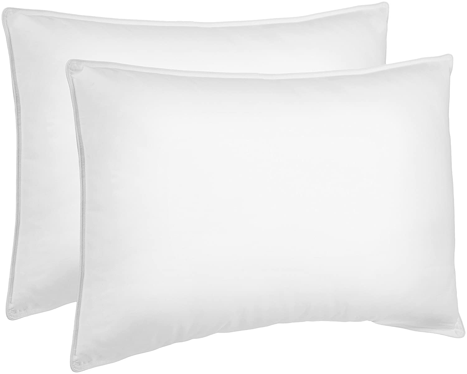 AmazonBasics Down Alternative Bed Pillows for Stomach and Back Sleepers - 2-Pack,...
