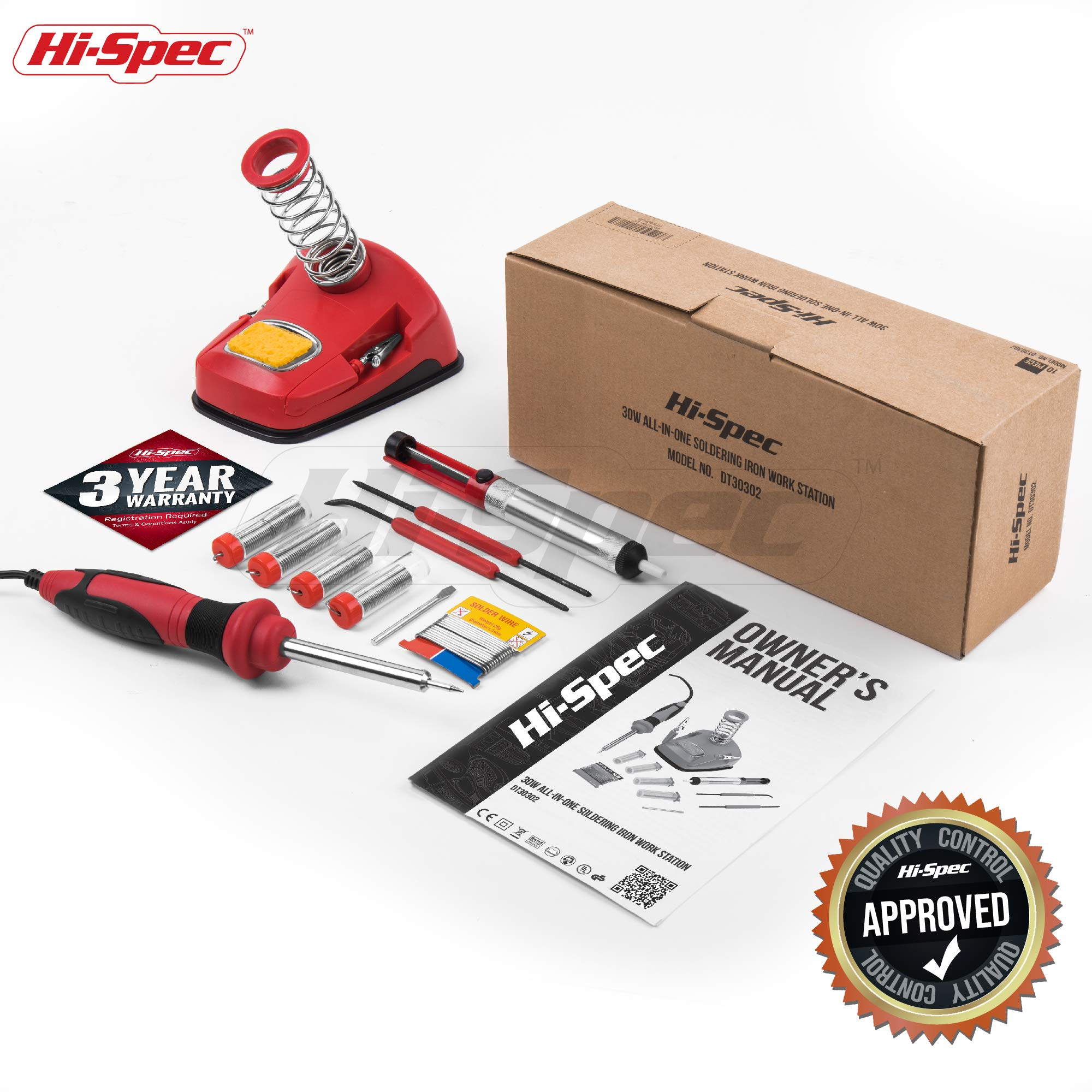 Hi-Spec All-In-One 30W Soldering Station inc. Soldering Iron, Helping Hands & 9pc Accessory Set - Desoldering Pump, Tin Alloy Solder, De-Solder Alloy & 2pc Solder Assist Tools by Hi-Spec (Image #6)