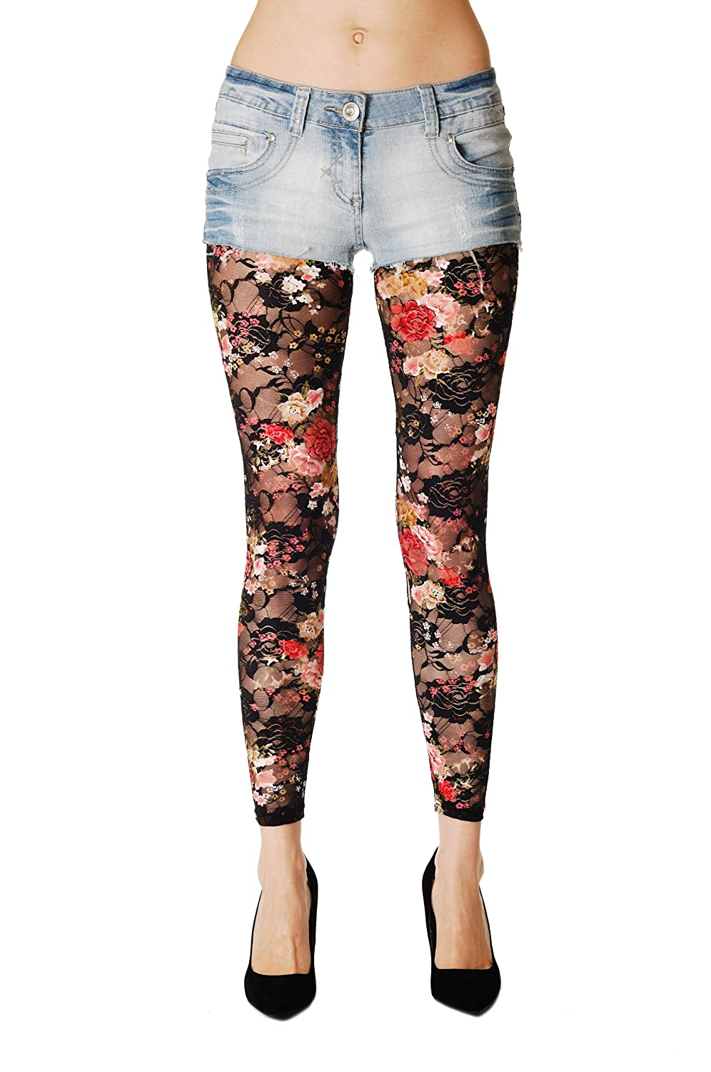 Lace With Roses - Multicolore Semi-Opaque Leggings Taille Unique (34-42) 094ac6282f2