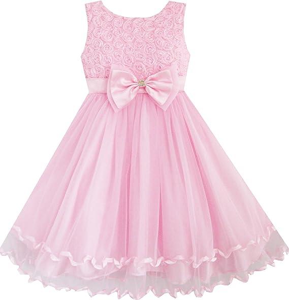Sunny Fashion Vestido para niña Rosa Rosa Corbata de moño Cinturón ...