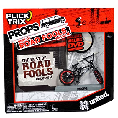 "Flick Trix Spinmaster Fingerbike Real Bikes, Unreal Tricks BMX Bicycle Miniature Set - Black Color UNITED Bike with Display Base and DVD Props The Best of Road Fools Volume 4"": Toys & Games"