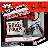 """Spinmaster Flick Trix Fingerbike """"Real Bikes, Unreal Tricks"""" BMX Bicycle Miniature Set - Black Color UNITED Bike with Display Base and DVD Props """"The Best of Road Fools Volume 4"""""""