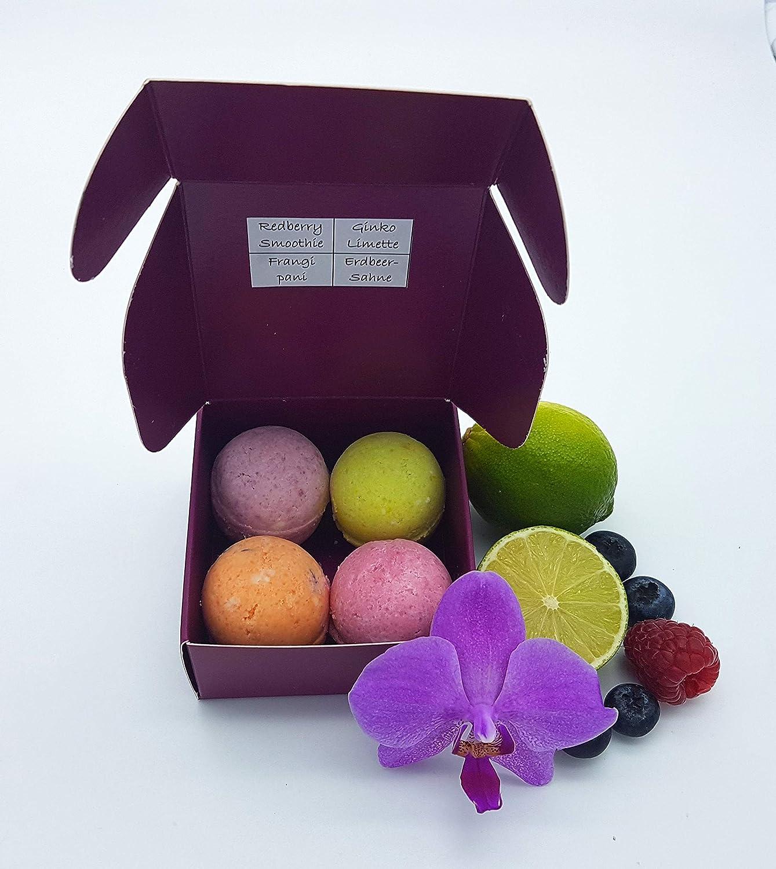 Badekugeln/Badebomben Sommerfrische in der Geschenkbox, vegan, ohne Palmö l, ohne Plastik, von kleine Auszeit Manufaktur