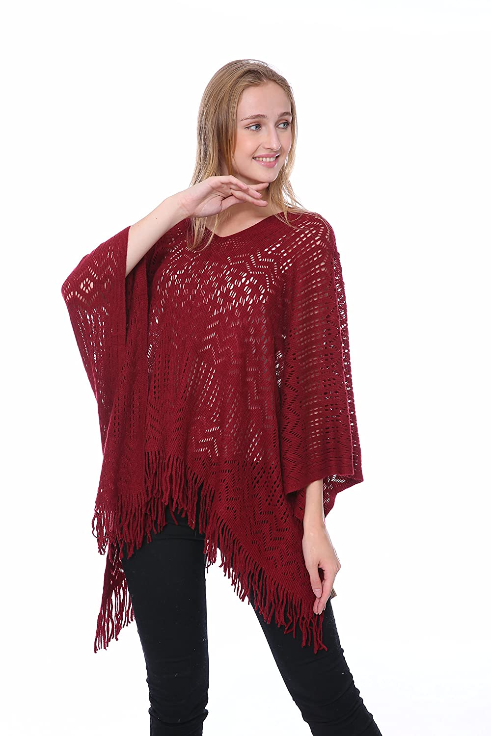 Memories RED Knitting Crochet Poncho(QH-272-3-03) QH-272-3-03 RED