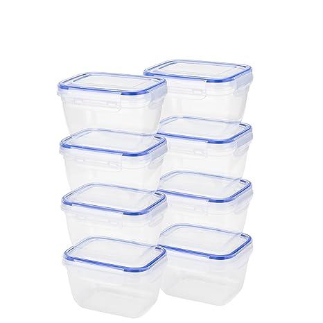 Grizzly Click & Store – Alimentos Contenedores de almacenamiento hecho - 8x550ml/Microondas, Congelador