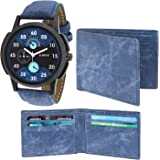 LORENZ CM-105WL-05 Combo of Men's Black Dial Analogue Watch and Blue Denim Wallet