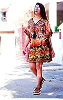 Hastkala Women's Stylish Short Kaftan Boho Caftan Beach Wear Dress Print