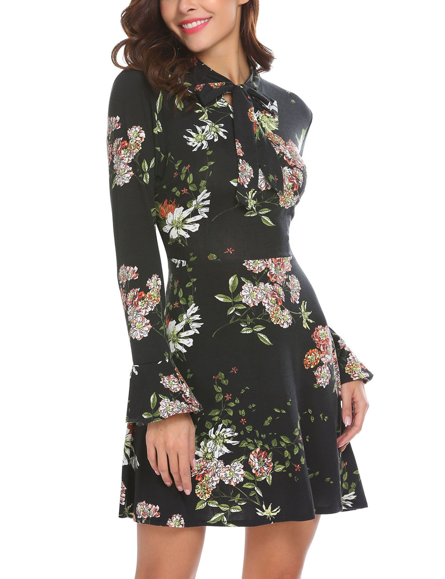 ACEVOG Women's Casual Floral Print Bell Sleeve Fit and Flare Dress (X-Large, Black) by ACEVOG (Image #2)