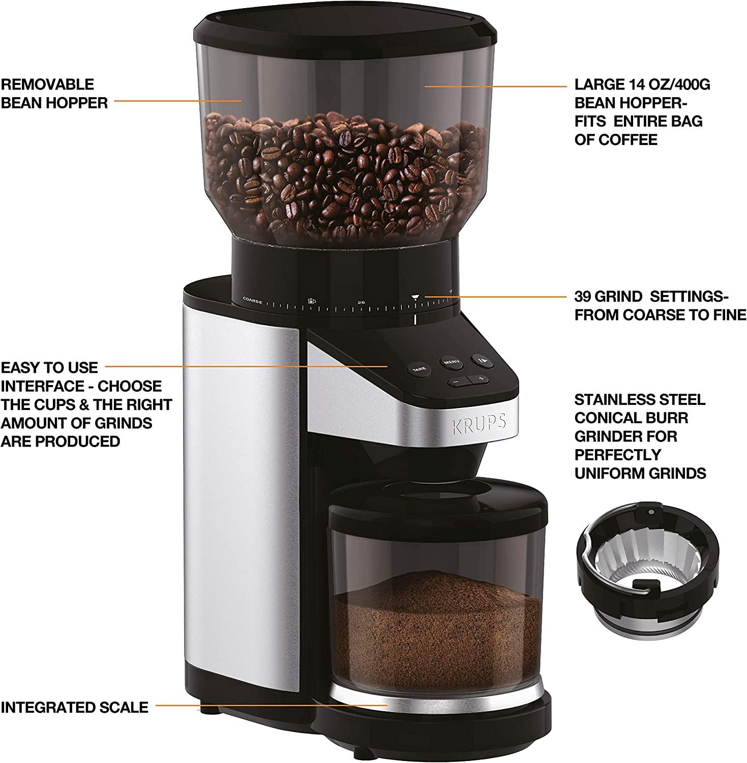 Krups Expert Burr Coffee Grinder krups gx420851 review