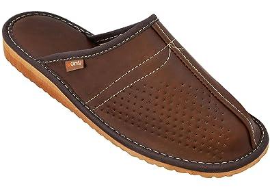 dd8f430f031a2 BeComfy Chaussures en Cuir pour Homme Chaussons Mules Noir boîte à Cadeau  en Option Modèle (