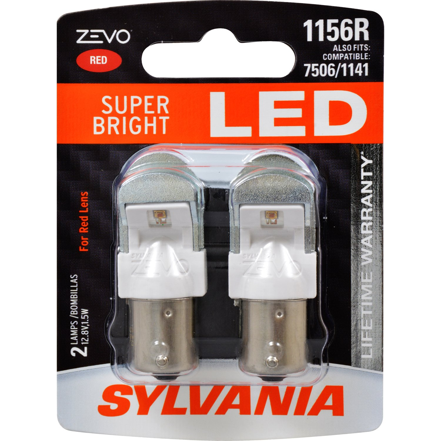 SYLVANIA - 1156 ZEVO LED Red Bulb - Bright LED Bulb, Ideal for Stop and Tail Lights (Contains 2 Bulbs) 1156RLED.BP2