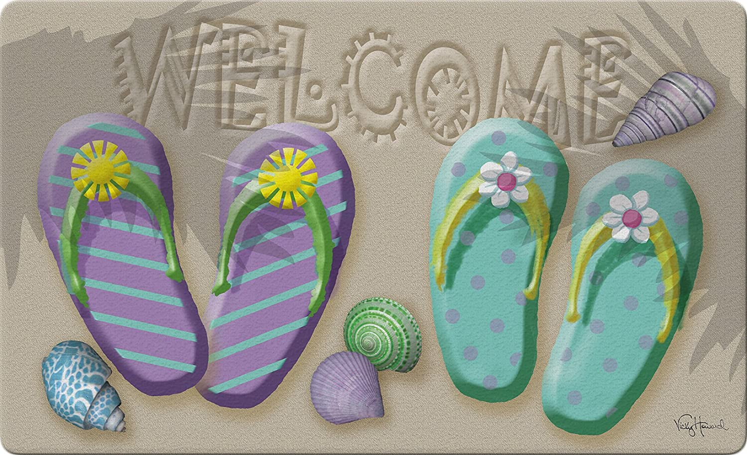 Toland Home Garden Welcome Flip Flop 18 by 30 Inch Decorative Beach Seashell Floor Mat Summer Sandal Doormat