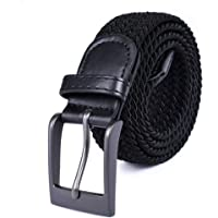 Braided Stretch Elastic Belt Pin Oval Satin Nickel Buckle Leather Loop End Tip Men/Women/Junior (3 Sizes 8 Colors)
