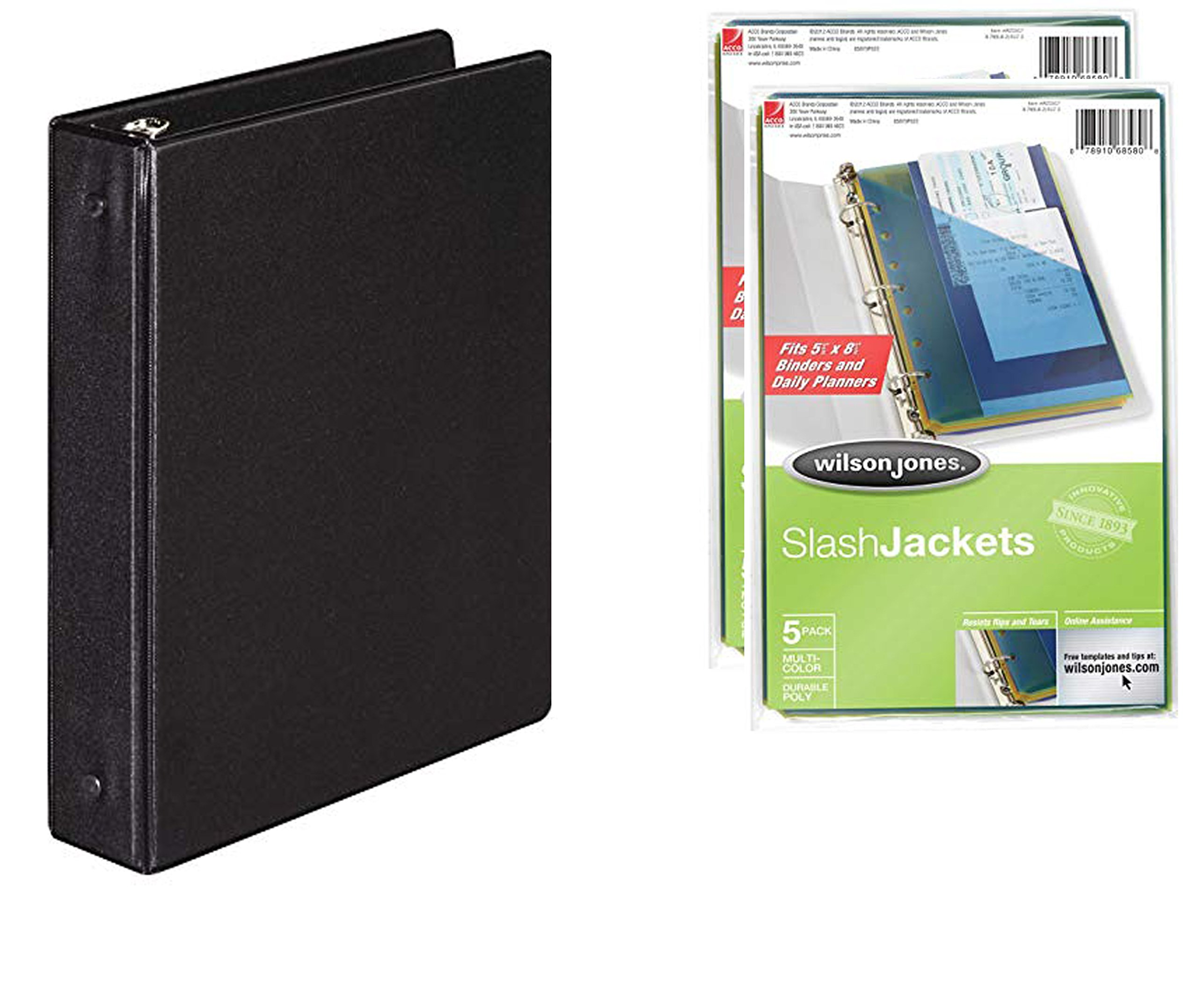 Wilson Jones Basic Round Ring Black Vinyl Binder (5.5 x 8.5 in, 175-Sheet, 1-in. Rings) Bundle [Pack of 1] incl. (2) Sets of 5-Pack, Mini Poly Slash Jackets (5.5 x 8.5 in, Assorted Colors)