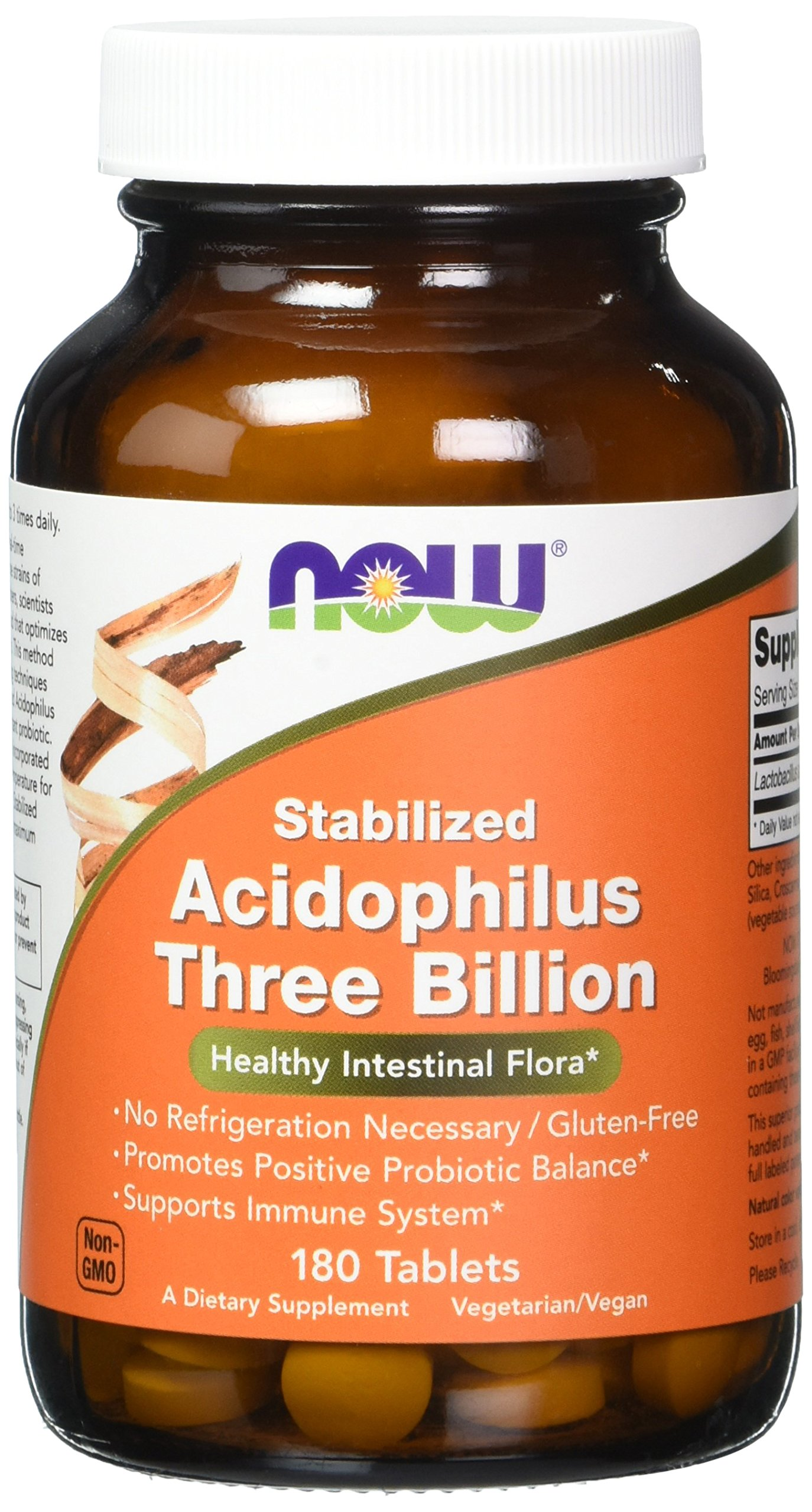 NOW Stabilized Acidophilus Three Billion,180 Tablets