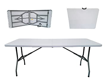 Marvelous Folding Tables UK Rectangular Plastic Top Fold In Half Table, 400 Kg Load  Capacity With