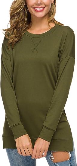 Womens Long Sleeve Casual Sweatshirt Pullover Loose Tunic Shirts Blouse Tops