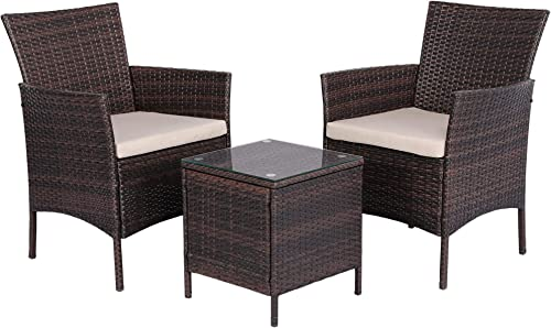 Topeakmart 3pcs Patio Furniture Set Outdoor Wicker Bistro Set Rattan Chair Conversation Set