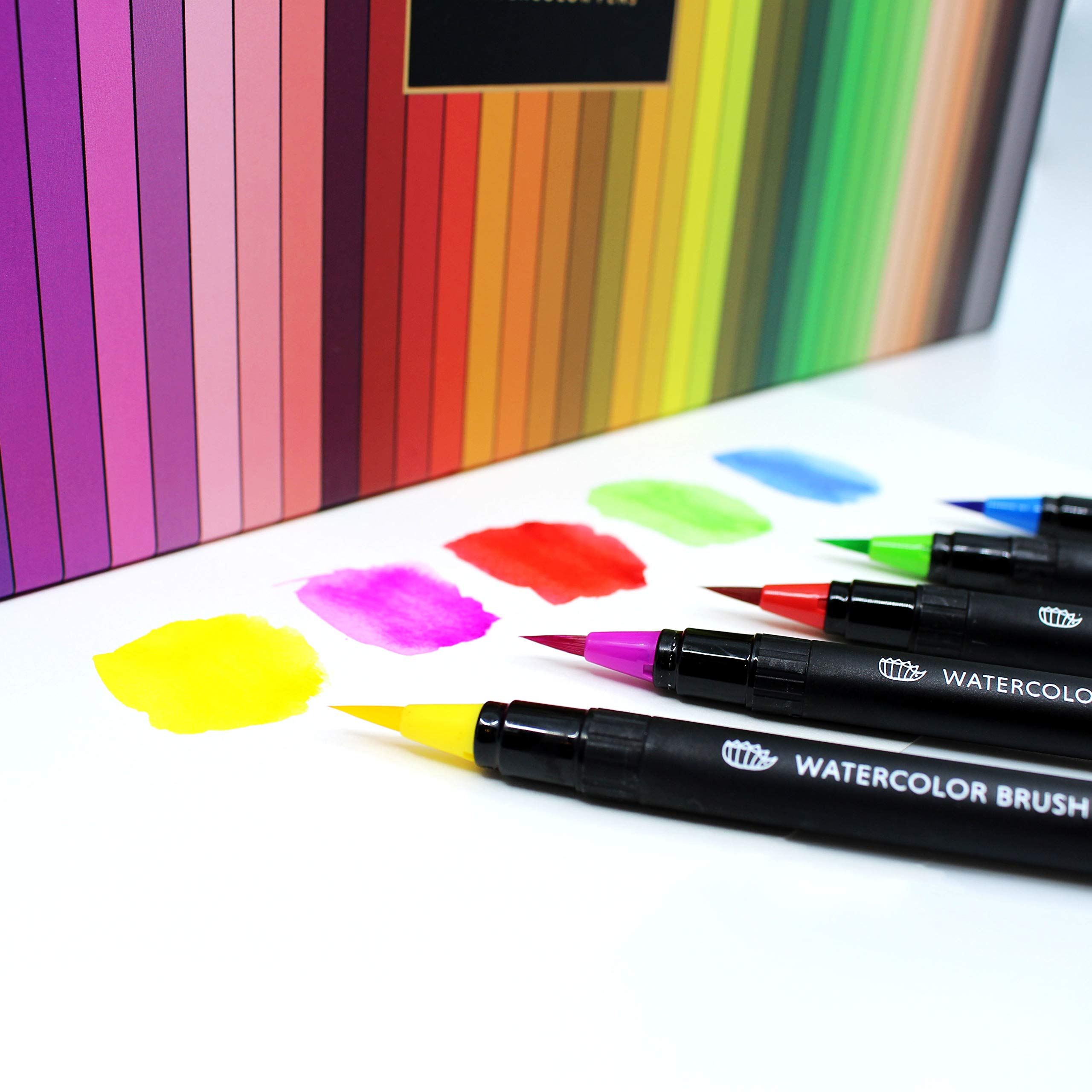 Gift Box : 48 Premium Watercolor Brush Pens, Highly Blendable, No Streaks, Water Color Markers, Unbelievable Value, Water Brush Pen, for Beginner to Professional Artist by Dab and Dot Markers (Image #8)
