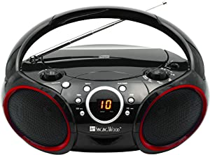 SINGING WOOD Portable CD Player AM FM Analog Tuning Radio with Aux Line in, Headphone Jack, Foldable Carrying Handle (Black with a Touch of Red Rims)