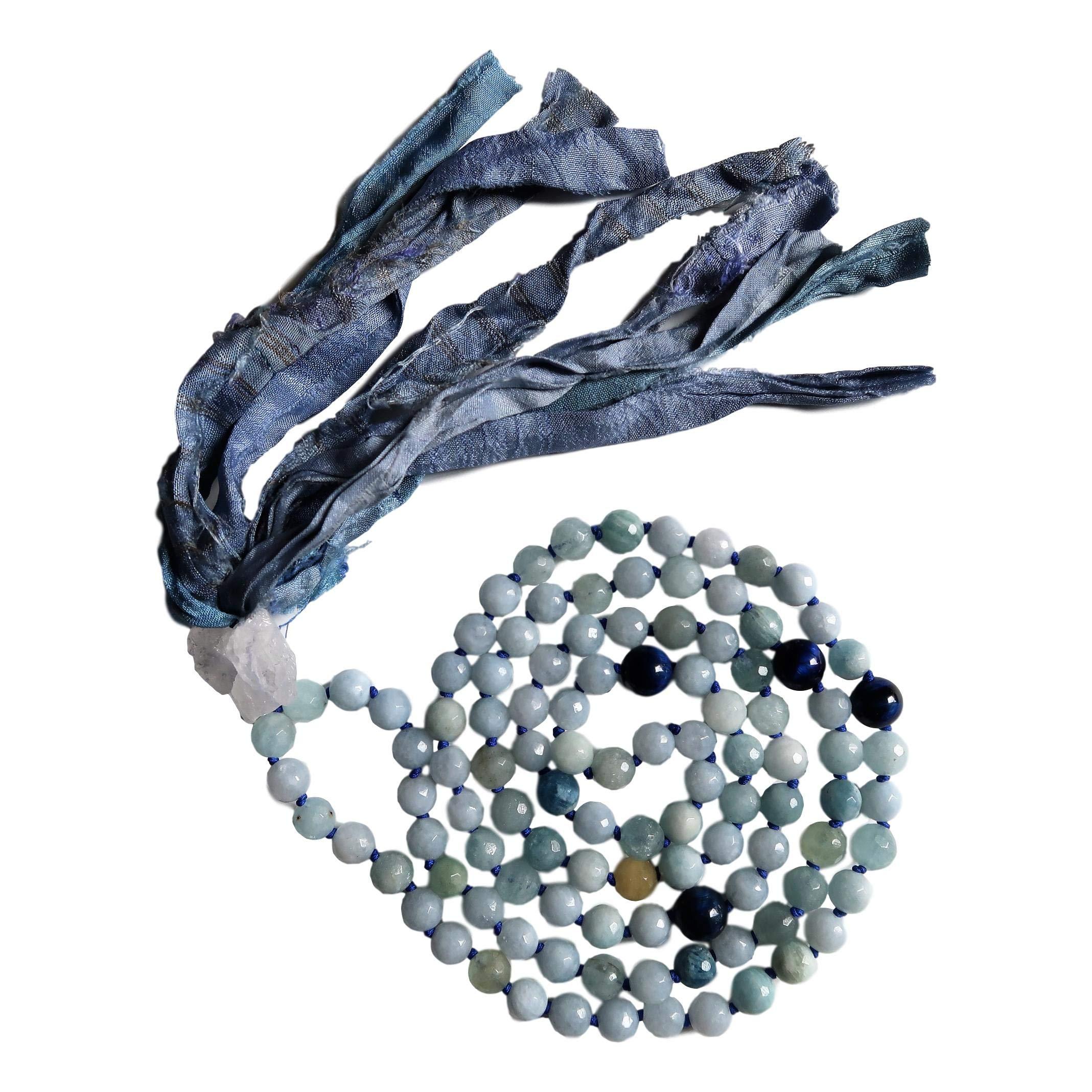 Live Radiantly 108 Mala Bead Necklace - 8mm Aquamarine Blue Tiger's Eye Stones - Clear Quartz Guru Bead - Sari Silk Tassel - Meditation, Mindfulness, Yoga - Mala to Foster Calm, Protection and Peace
