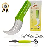 Watermelon Knife ~ Doubles as Slicer & Serving Tongs, Premium 304 Grade Stainless Steel with Sure Grip Rubber Handle ~ Comes with Melon Carver / Baller Scoop: 2 Piece Set by Benefico