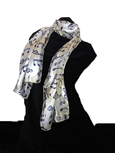 Sciarpa oro/beige con le note musicali blu.– Gold/beige musical notes scarf with blue notes.