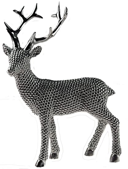 Christmas Ornament Standing Silver Reindeer Diamante Bling 24cm  Figurine