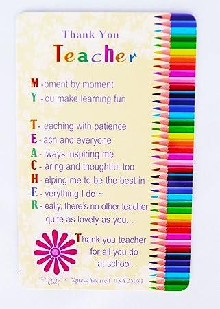 Thank You Teacher Wallet Keepsake Card School Student Pupil Kids Poem Gift  Card