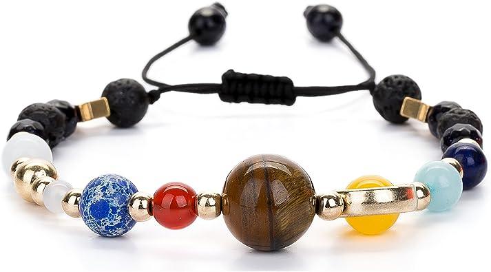 Joya Gift Bead Bracelets Women Men Solar System & Chakra Stone Diffuser Bracelets Set Aromatherapy Yoga Bracelet 8MM Beaded