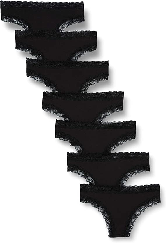 Iris /& Lilly Brasiliana in Cotone Donna Nero Pacco da 7 XXL Marchio Label: XXL Black