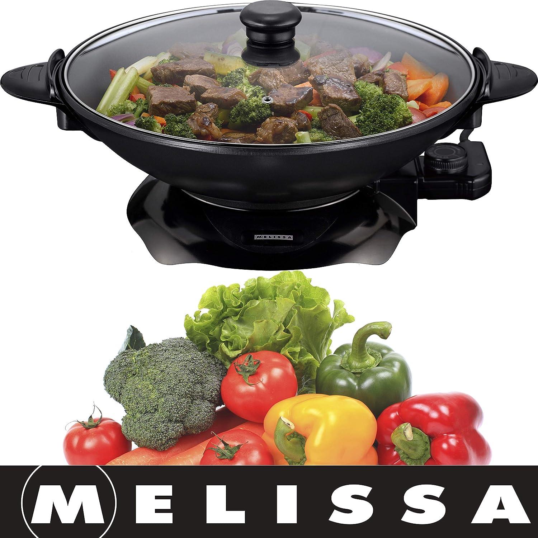 Melissa 16310207, Eléctrico Wok: acoplador de Wok con termostato, antiadherente, 1500 W, 4,5 litros (eléctrico Sartén): Amazon.es: Hogar