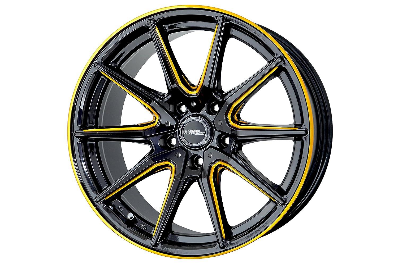 ホットスタッフ クロススピード プレミアム RS10 17インチ 7J+55 5H114.3 ピアノブラック/サイドマシニング +ゴールド 2本 セット B01MSF53HL