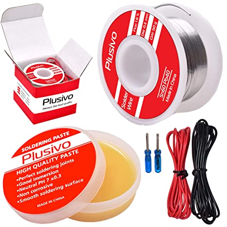 Solder Wire and Rosin Paste Kit - 0.6mm Active Tin Lead Solder Wire on
