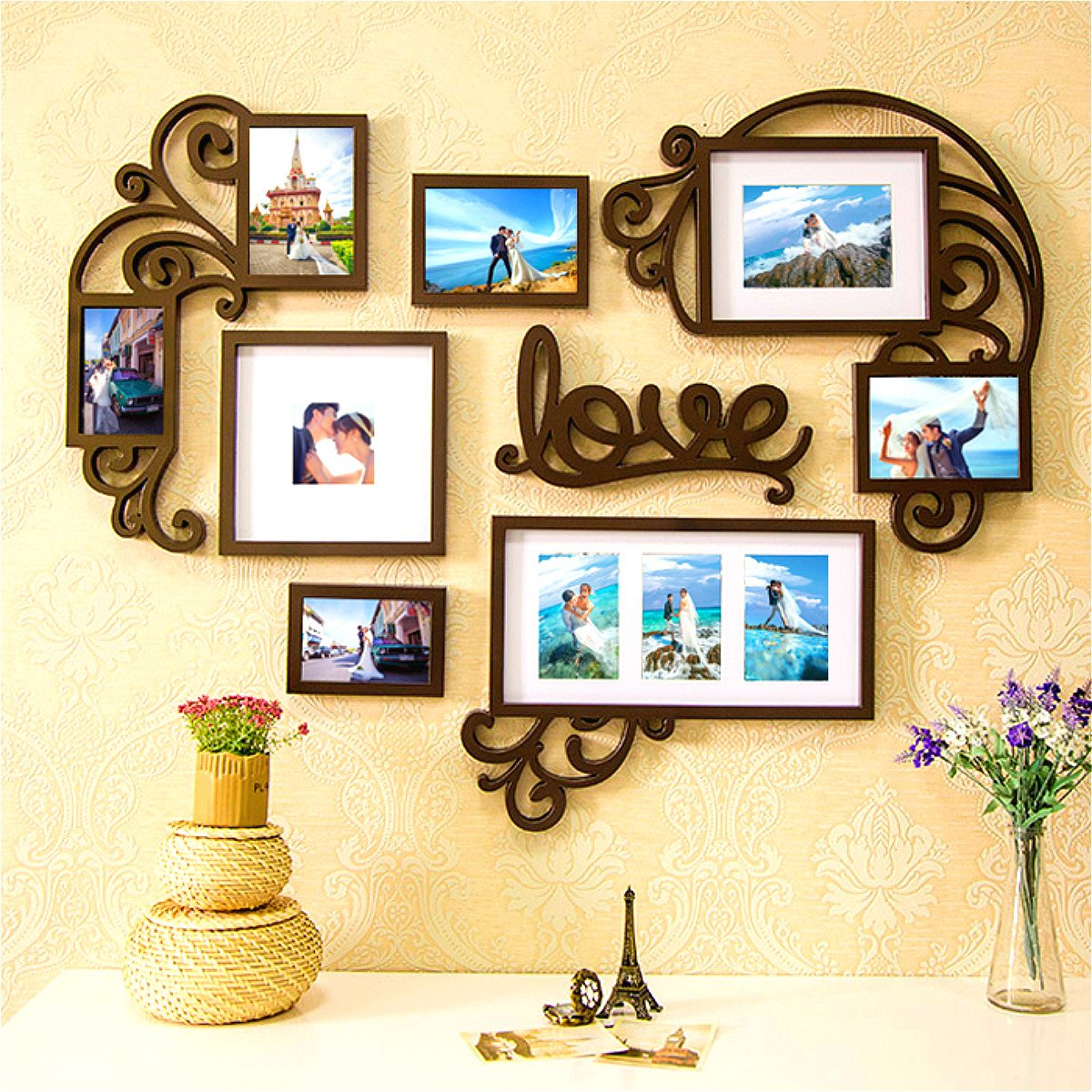 F&A=R Picture Frame Set Wall Art Decoration Sticker in Family Living Room and Bedroom (Love Heart) by F&A=R
