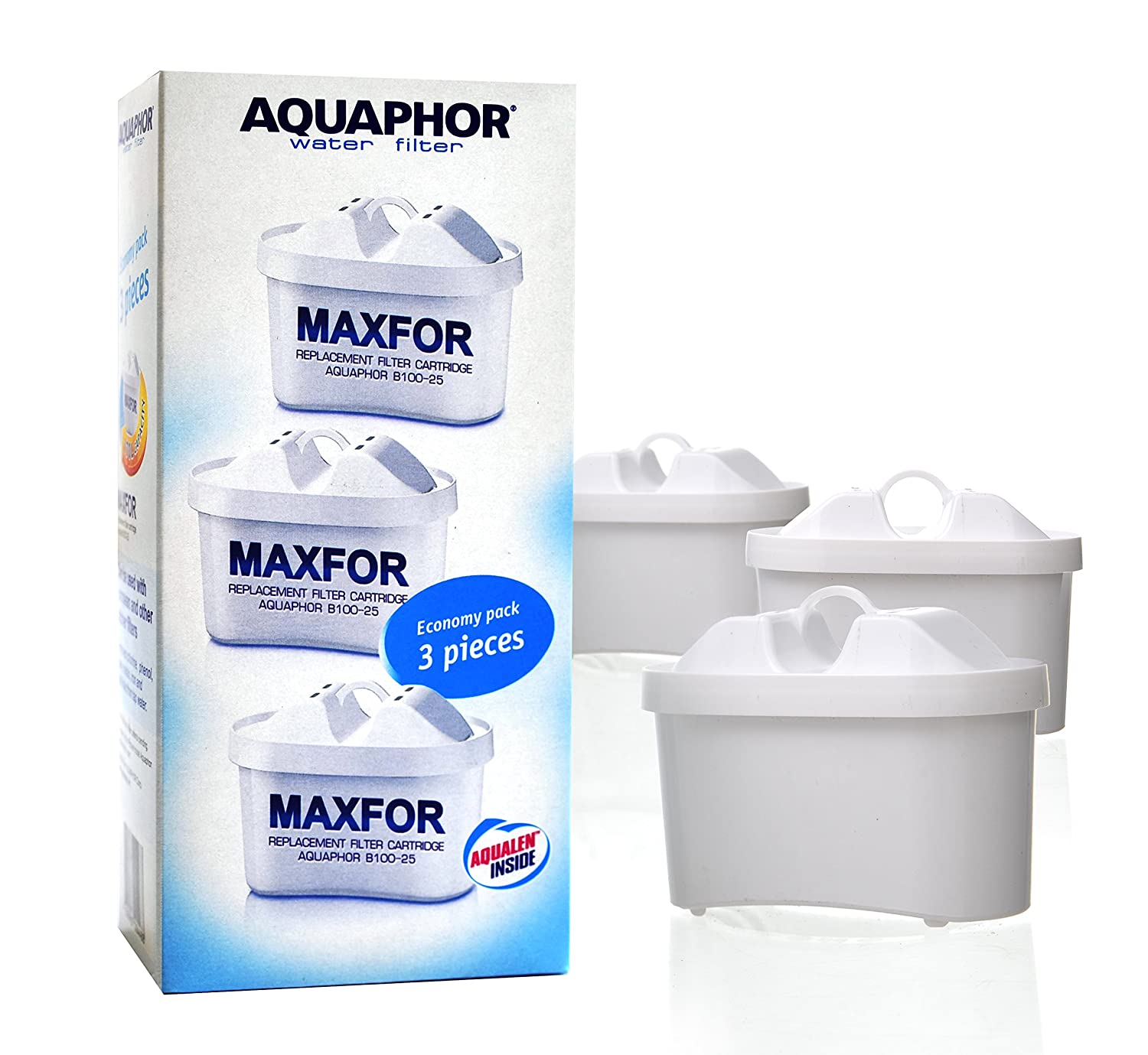 Aquaphor MAXFOR B100-25 Replacement Cartridges for Jug Water Filters - Pack of 3, Universal, 200 Litres Capacity