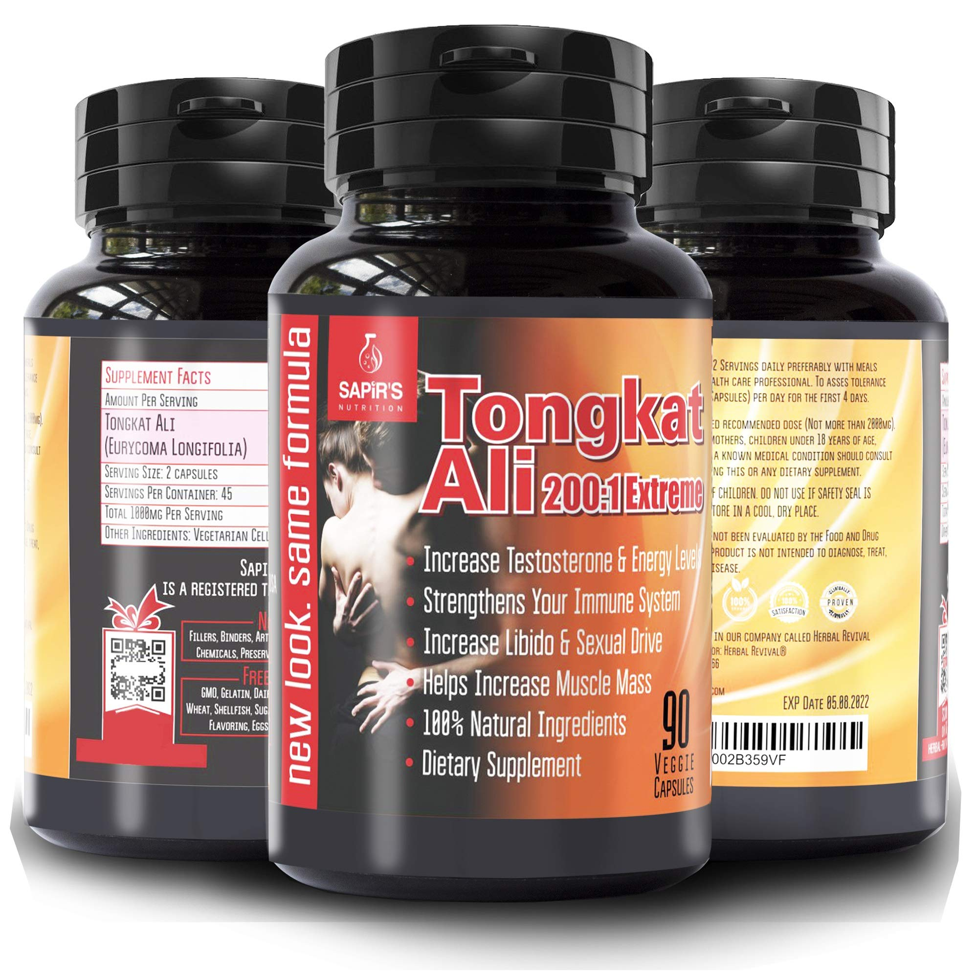 Tongkat Ali Long Jack Root Extract - Herbal Testosterone Supplements, Male Libido Booster, 90 Vegan Pills, Increase Male Stamina, Energy, Muscle Enlargement, Endurance Jack, Blood Flow Intimate Area
