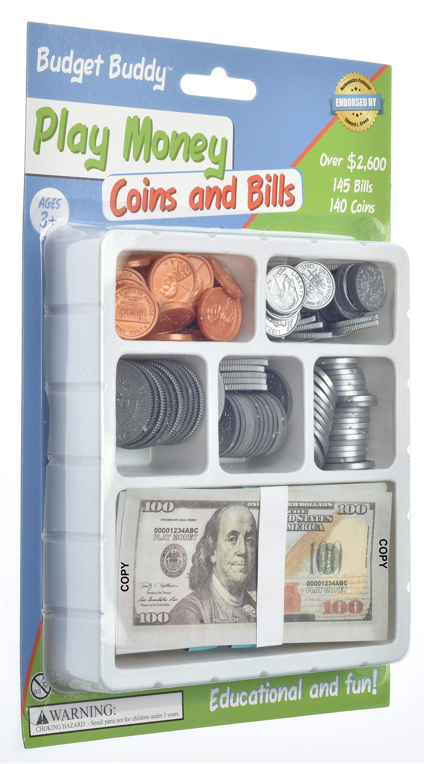 Teacher's Choice Pretend Play Money Set for Kids - 145 School Money Bills and 140 Plastic U.S. School Money Coins in Tray by Teacher's Choice